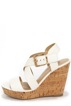 My Delicious Baymist White Platform Wedge Sandals