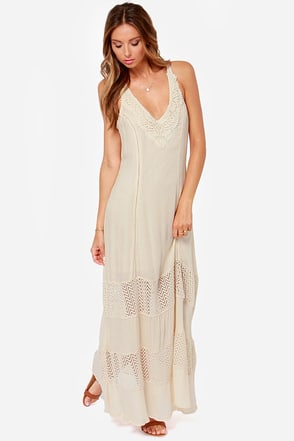 Stay True Crochet Light Beige Maxi Dress