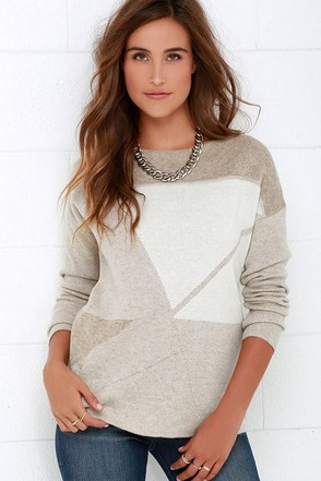 Hillside Path Beige Print Sweater at Lulus.com!