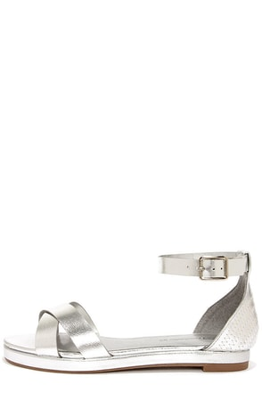 Coco 31 Silver Flat Ankle Strap Sandals at Lulus.com!