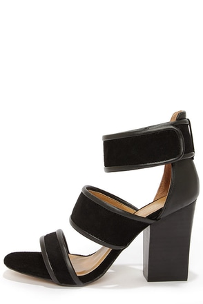 Report Signature Pammy Black Leather High Heel Sandals