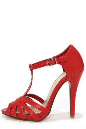 My Delicious Arky Red T Strap Dress Sandals at Lulus.com!