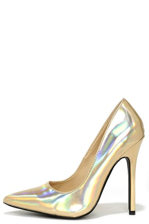Galactic Gala Gold Hologram Pointed Pumps at Lulus.com!
