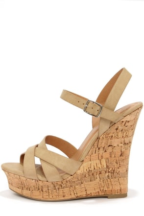My Delicious Serum White Peep Toe Wedge Sandals