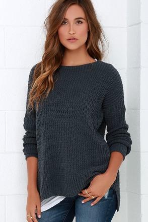 BB Dakota Giselle Dark Grey Sweater at Lulus.com!