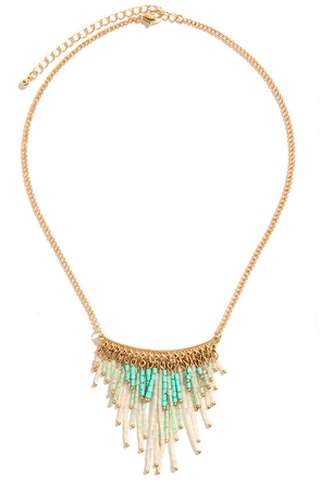 Bead the Fifth Turquoise and Gold Beaded Necklace