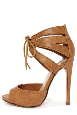 My Delicious Talbot Tan Lace-Up Peep Toe Heels
