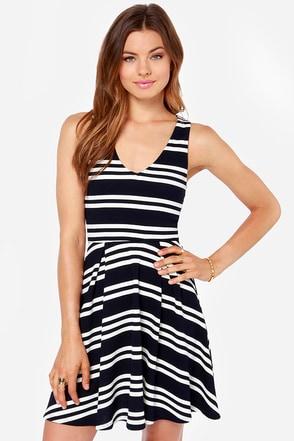 All for Nautical Ivory and Navy Blue Striped Dress