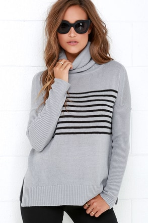 BB Dakota Carver Blue Grey Striped Sweater at Lulus.com!