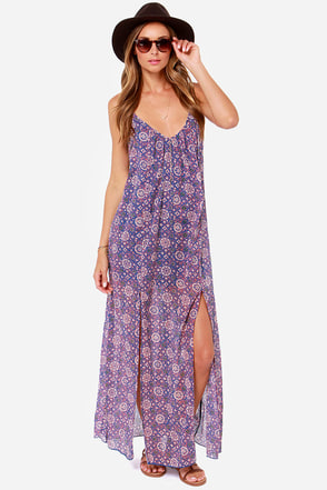 RVCA Drift On Blue and Coral Print Maxi Dress