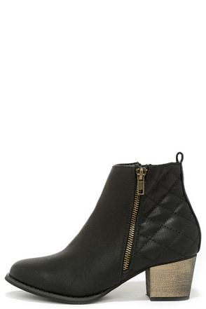 Quilty Pleasure Black Quilted Ankle Boots at Lulus.com!