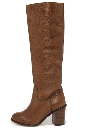 Seychelles Obsidian Whiskey Brown Leather Knee High Heel Boots at Lulus.com!
