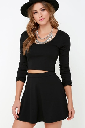 Stratosphere Black Two-Piece Skater Dress at Lulus.com!