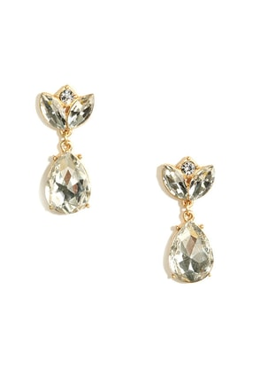 Sparkling Sprout Gold Rhinestone Earrings at Lulus.com!
