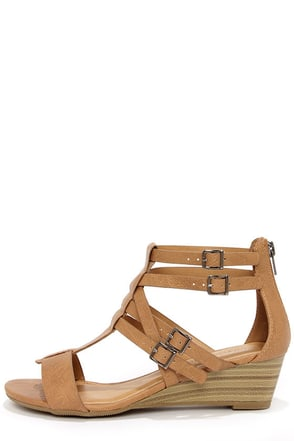 City Classified Lativ Tan Strappy Wedge Sandals