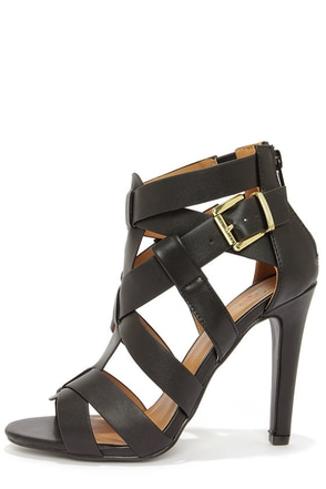 My Delicious Ivona Black Caged High Heel Sandals