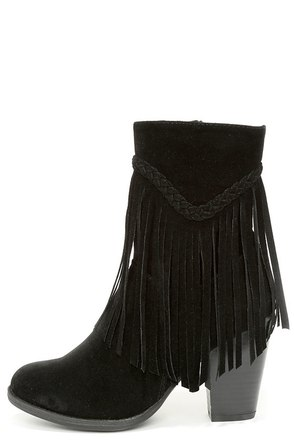 Badlands Black Suede Mid-Calf Fringe Boots at Lulus.com!
