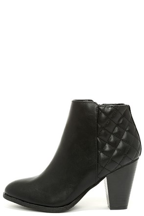New Stitch In Town Black Quilted High Heel Booties at Lulus.com!