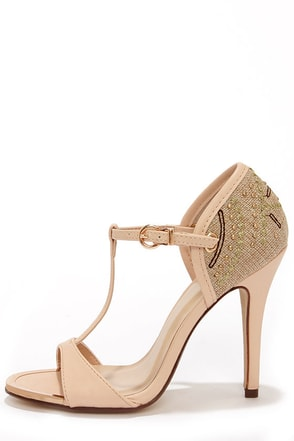 My Delicious Trail Blush Embroidered T Strap Heels