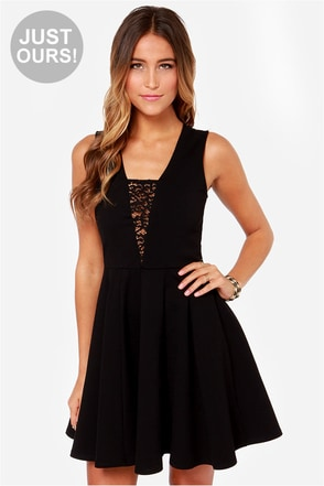 LULUS Exclusive Lace Your Steps Black Dress