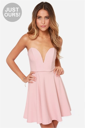 All Good Things Strapless Coral Dress at Lulus.com!