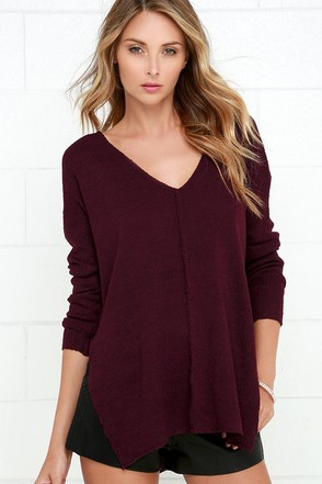 All Together Now Burgundy Sweater at Lulus.com!