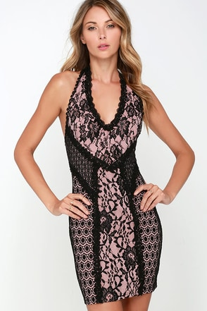 Haute Shot Pink and Black Lace Bodycon Dress at Lulus.com!