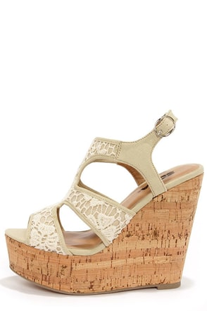 Soda Tisa Beige Lace Platform Wedge Sandals