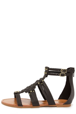 Bamboo Sawyer 06 Black and Gold Gladiator Sandals