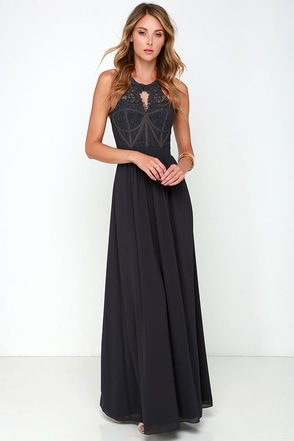 Bariano Optimum Opulence Dark Blue Grey Lace Maxi Dress at Lulus.com!