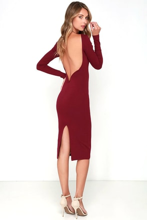 Va Va Voom Wine Red Backless Midi Dress at Lulus.com!