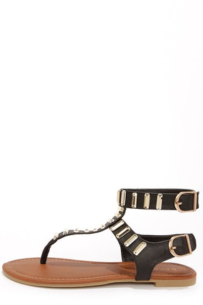 Bamboo Krea 23 Black and Gold Rhinestone Thong Sandals