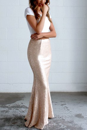 Kickin' Up Stardust Silver Sequin Maxi Skirt at Lulus.com!