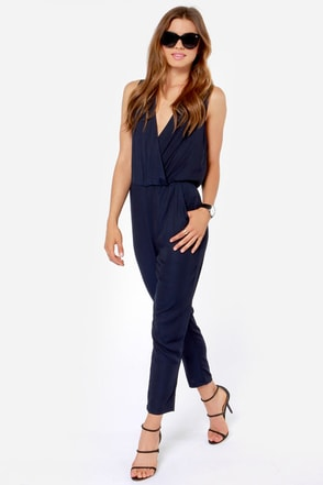Aryn K Pack a Plunge Ink Blue Jumpsuit