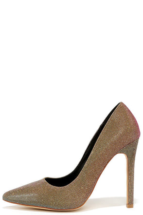 Computer Love Gold Multi Glitter Pointed Pumps at Lulus.com!