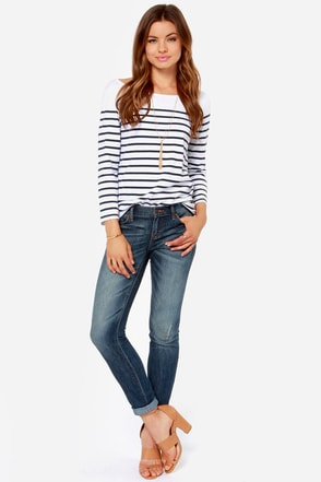 Dittos Selena Dark Wash Distressed Ankle Skinny Jeans