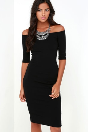 Girl Can't Help It Black Off-the-Shoulder Midi Dress at Lulus.com!