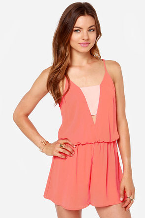 Crowd-Pleaser Coral Romper at Lulus.com!