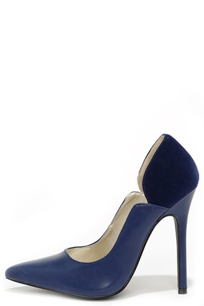 A Little Notch is Nice Navy Blue Pointed Pumps at Lulus.com!