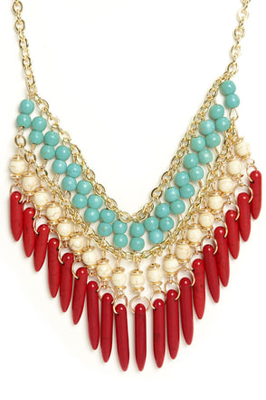 Playing Coy Red Beaded Necklace