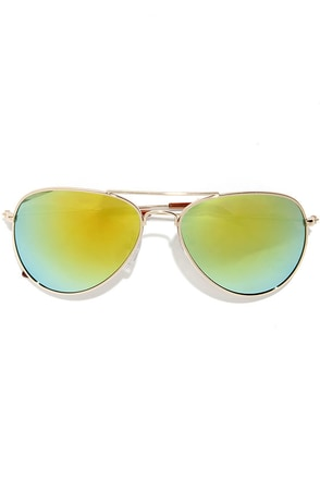 Chris Gold Mirrored Aviator Sunglasses at Lulus.com!