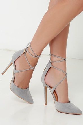 Leading Role Red Suede Lace-Up Heels at Lulus.com!