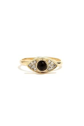 Eyes for You Gold Rhinestone Ring