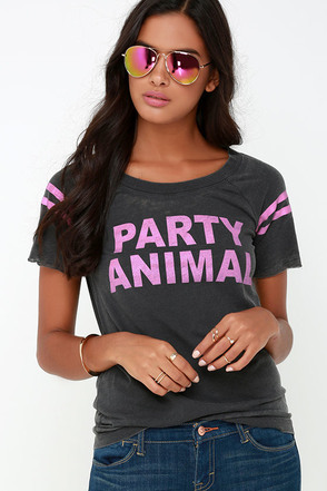 Chaser Party Animal Washed Black Cutout Tee at Lulus.com!
