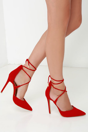 Leading Role Black Suede Lace-Up Heels at Lulus.com!