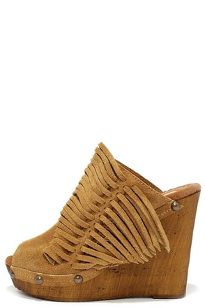 Sbicca Pitch Tan Suede Leather Fringe Wedges at Lulus.com!