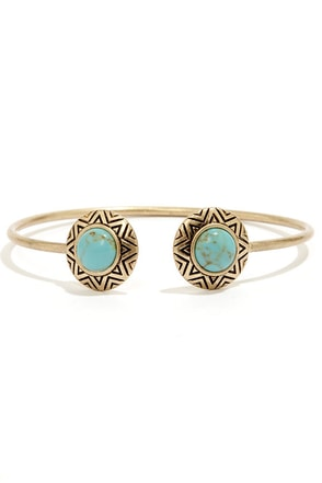 Ancient History Gold and Turquoise Bracelet