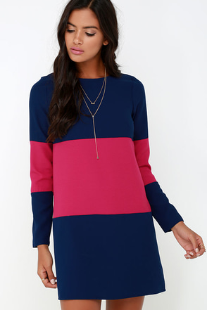 Jack by BB Dakota Dirk Berry Red and Navy Blue Shift Dress at Lulus.com!