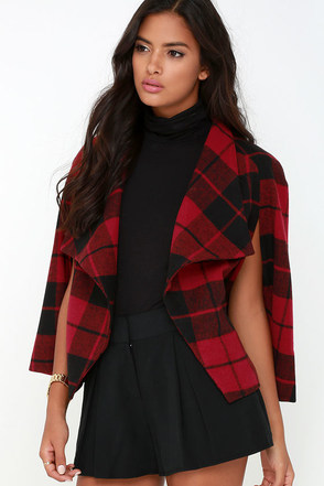 Jack by BB Dakota Sheeran Red Plaid Cape at Lulus.com!