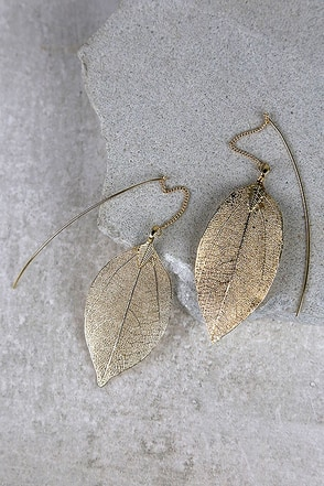 Leaf Bed Silver Leaf Threader Earrings at Lulus.com!